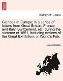 Glances at Europe; I...