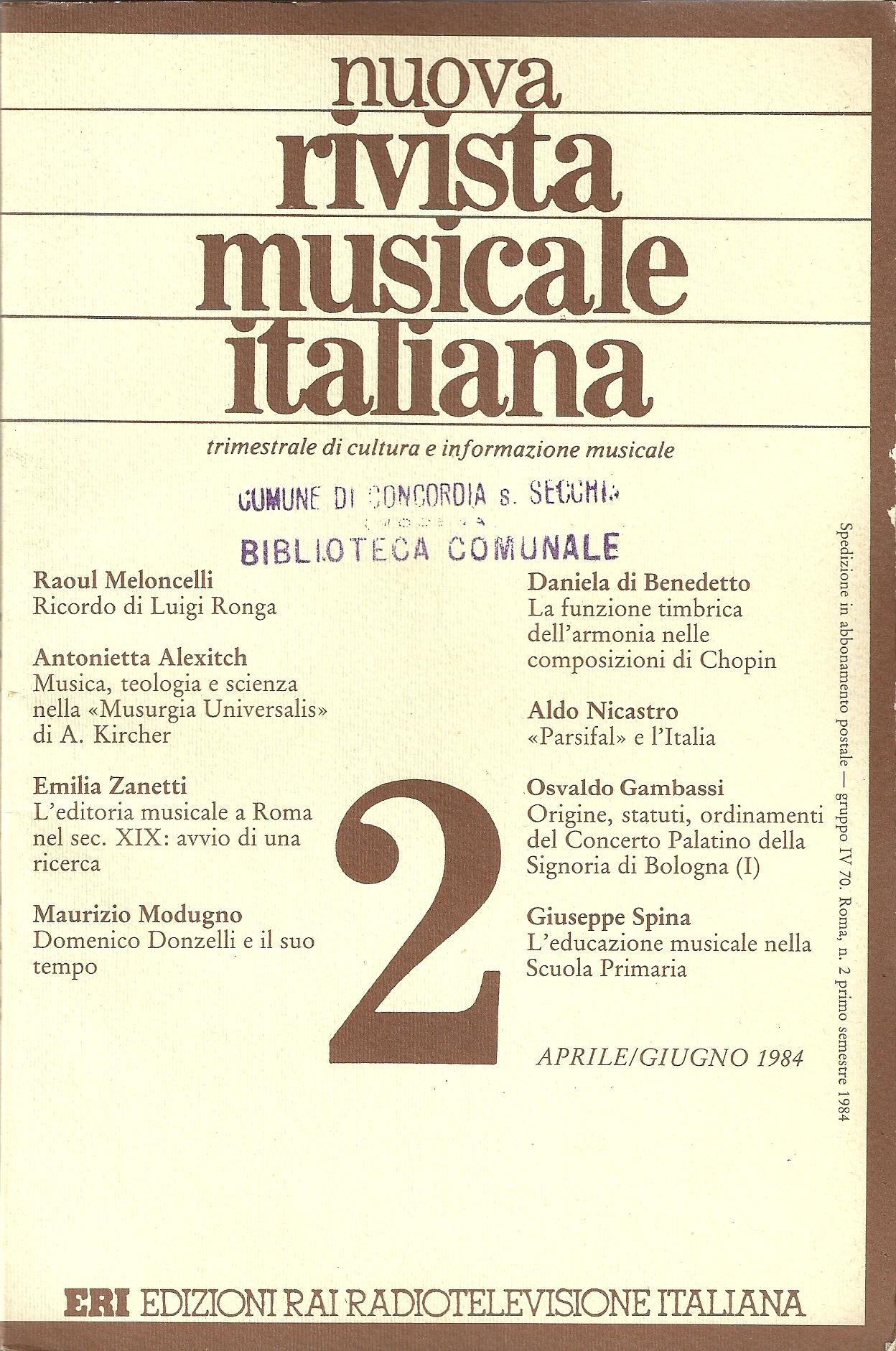 Nuova rivista musicale italiana (n.2/1984)