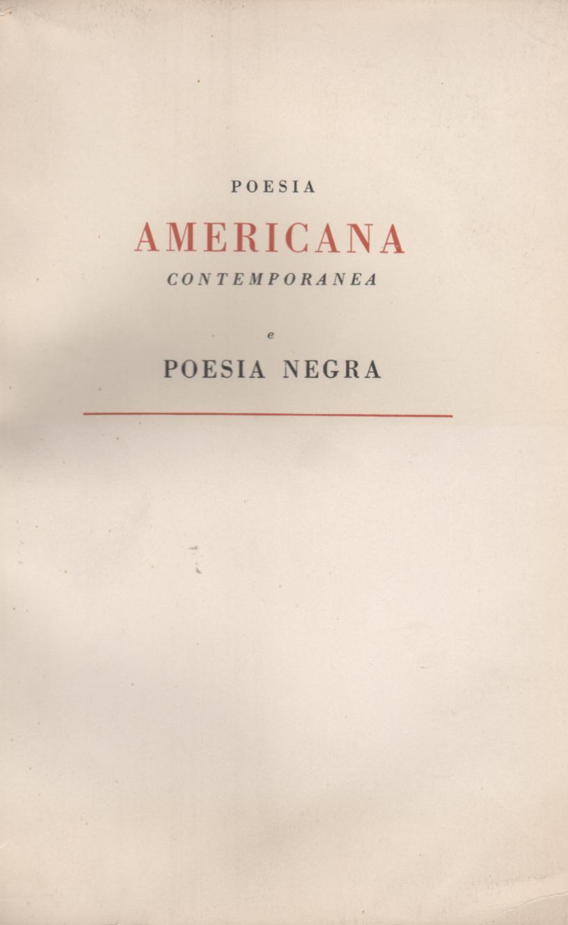 Poesia americana contemporanea e poesia negra