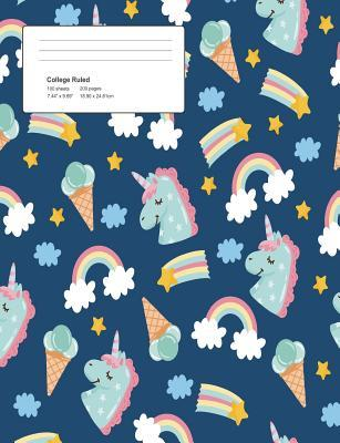 Unicorn Blue Pattern Composition College Ruled Book (7.44 x 9.69) 200 pages V4