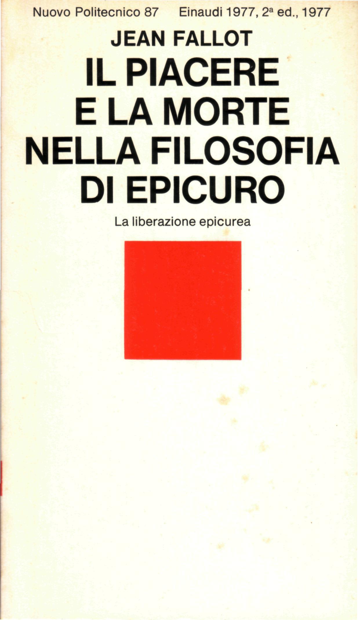 Il piacere e la morte nella filosofia di Epicuro