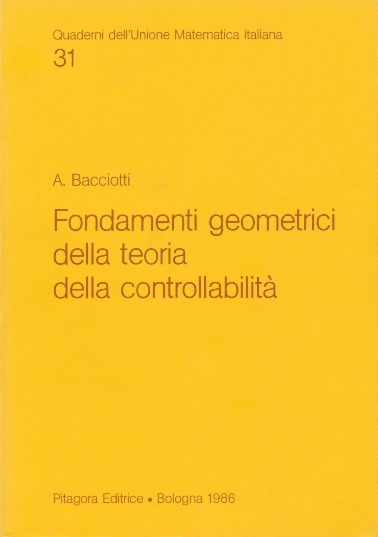 Fondamenti geometrici della teoria della controllabilità