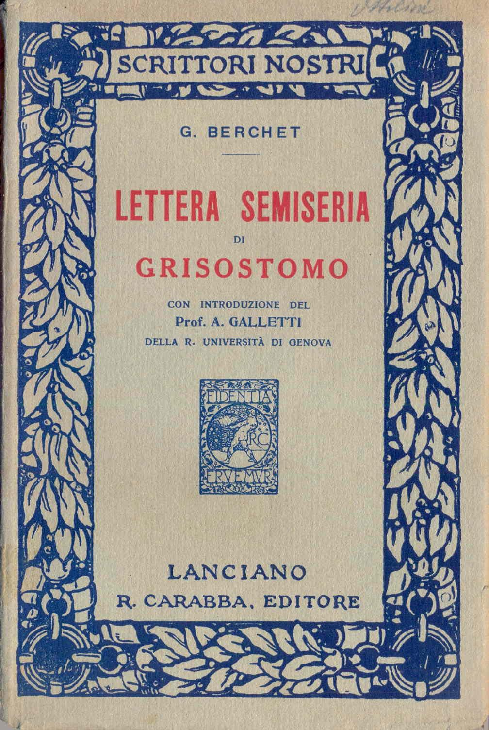 Lettera semiseria di Grisostomo
