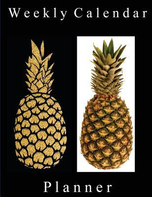 Weekly Calendar Planner - 70 Weeks - (8.5 X 11) - Gold and Real Pineapple
