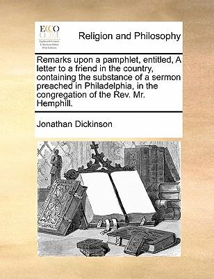Remarks Upon a Pamph...
