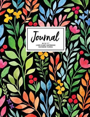 """Journal 8.5 x 11"""" Lined Diary Notebook Rainbow Floral"""