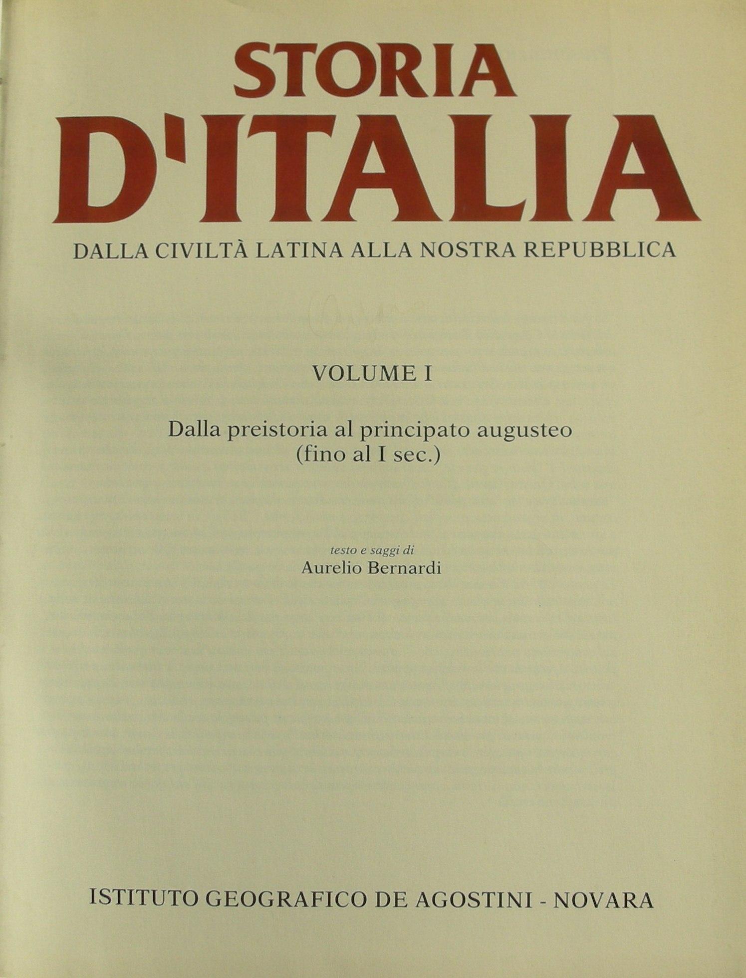 Storia d'Italia Vol. I