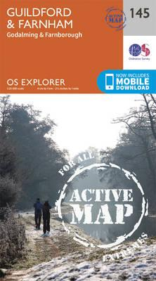 OS Explorer Map Active (145) Guildford and Farnham