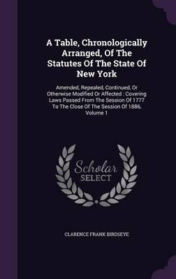 A Table, Chronologically Arranged, of the Statutes of the State of New York
