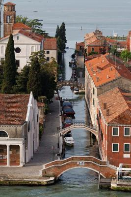 Aerial View of Bridges on the Canal in Venice, Italy Journal