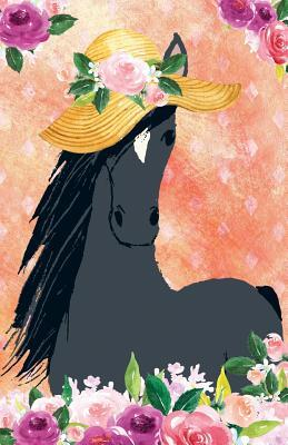 Journal Notebook For Horse Lovers Chic Black Horse In a Sun Hat