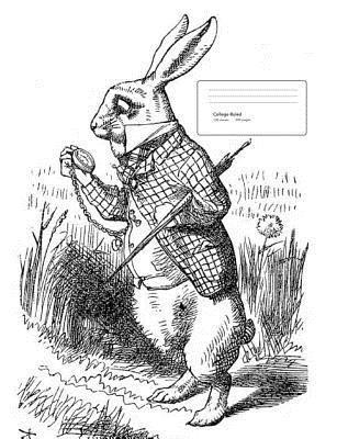 Alice in Wonderland White Rabbit Composition Book