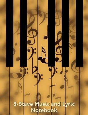 8-Stave Music and Lyric Notebook - Tan Piano Keyboard