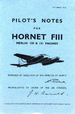 De Havilland Hornet Fiii -pilot's Notes