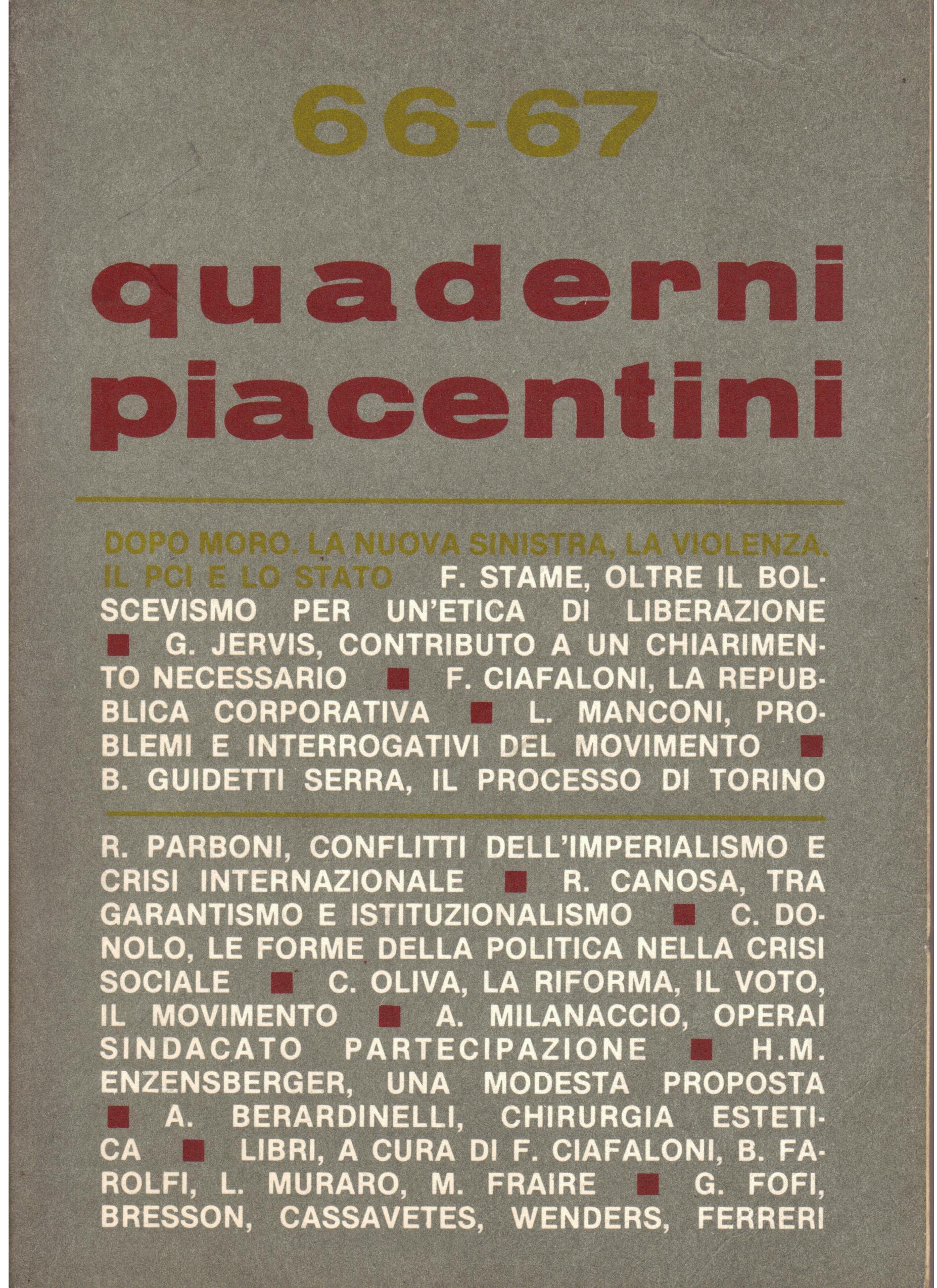 Quaderni piacentini Anno XVII, n. 66-67 (giugno 1978)