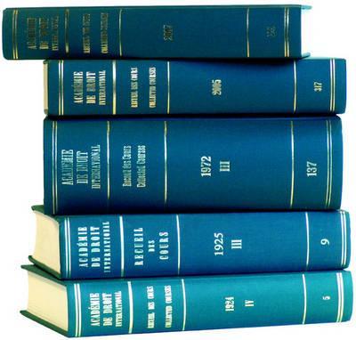 Recueil Des Cours, Collected Courses 1933