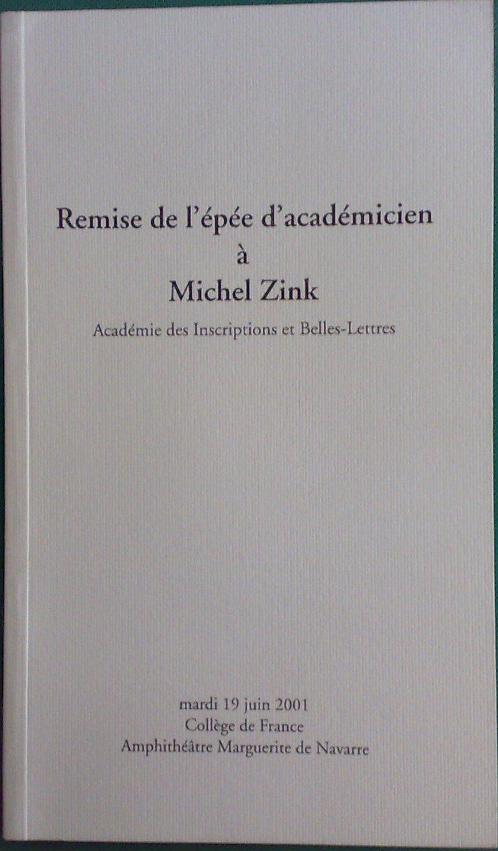 Remise de l'épée d'académicien à Michel Zink