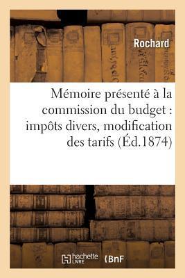 Mémoire Présente a la Commission du Budget