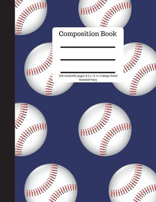 Composition Book 200 sheet/400 pages 8.5 x 11 in.-College Ruled Baseball-Navy