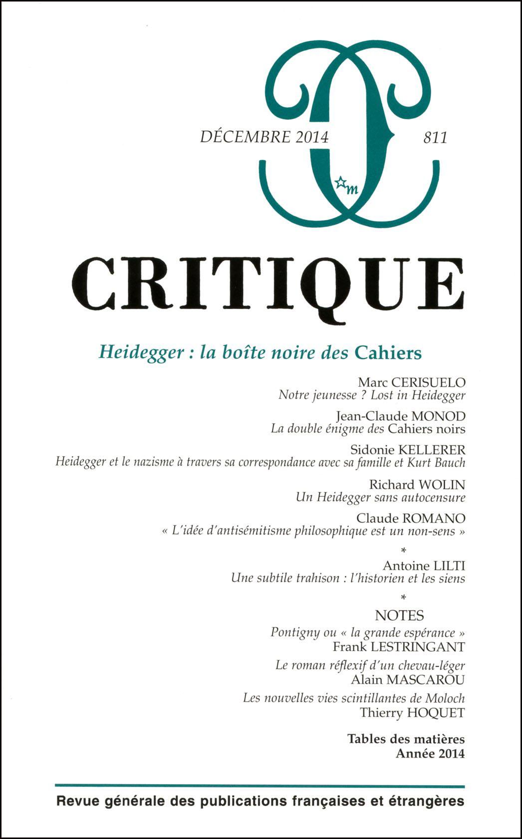Critique, Tome LXX, 811 (Décembre 2014)