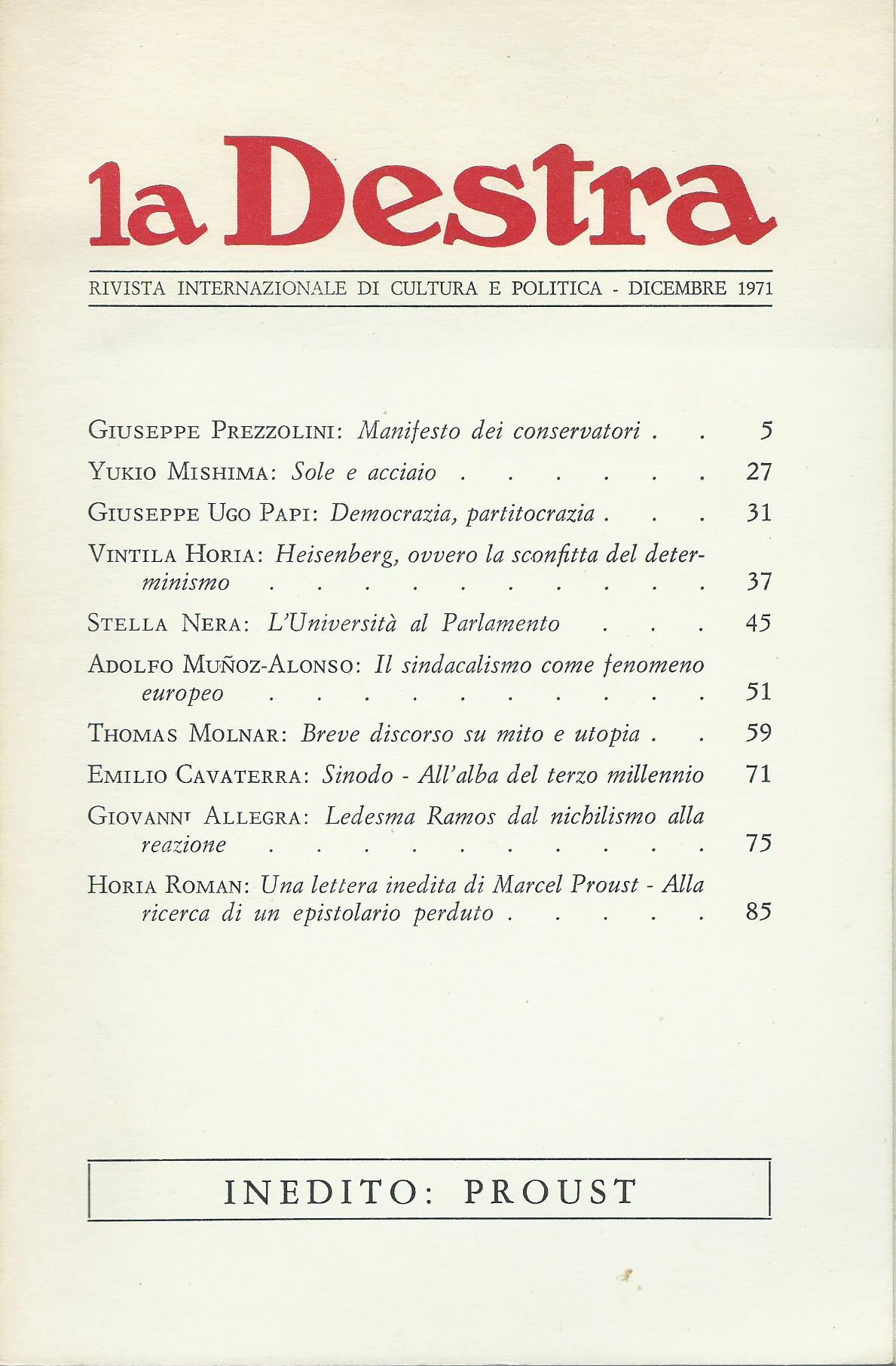 La Destra - Anno I n. 1