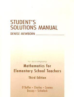Mathematics for Elementary School Teachers Student's Solution Manual