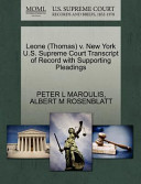 Leone (Thomas) V. New York U.S. Supreme Court Transcript of Record with Supporting Pleadings