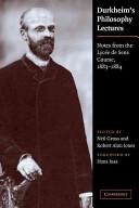 Durkheim's Philosophy Lectures