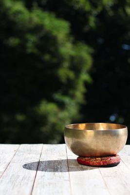 A Beautiful Tibetan Singing Bowl and Reflection Lined Journal