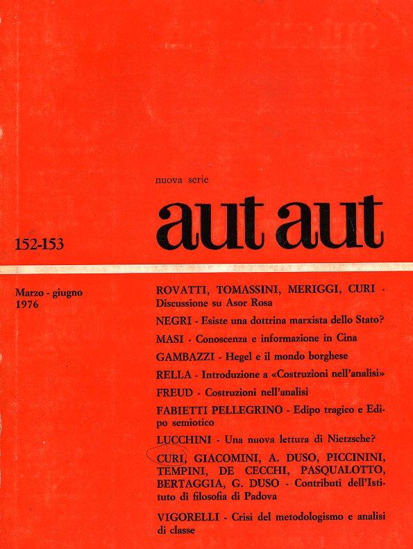 Aut aut n. 152-153 / 1976