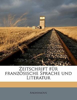 Zeitschrift Fur Franzosische Sprache Und Literatur
