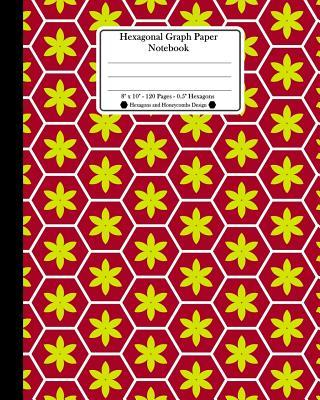 "Hexagonal Graph Paper Notebook. 8"" x 10"". 120 Pages. 0.5"" Hexagons"