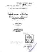 Mediterranean Studies: III. Three Papers on the History and Language of the Hittites