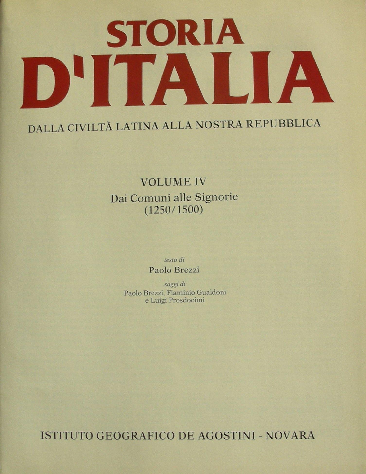 Storia d'Italia vol. IV