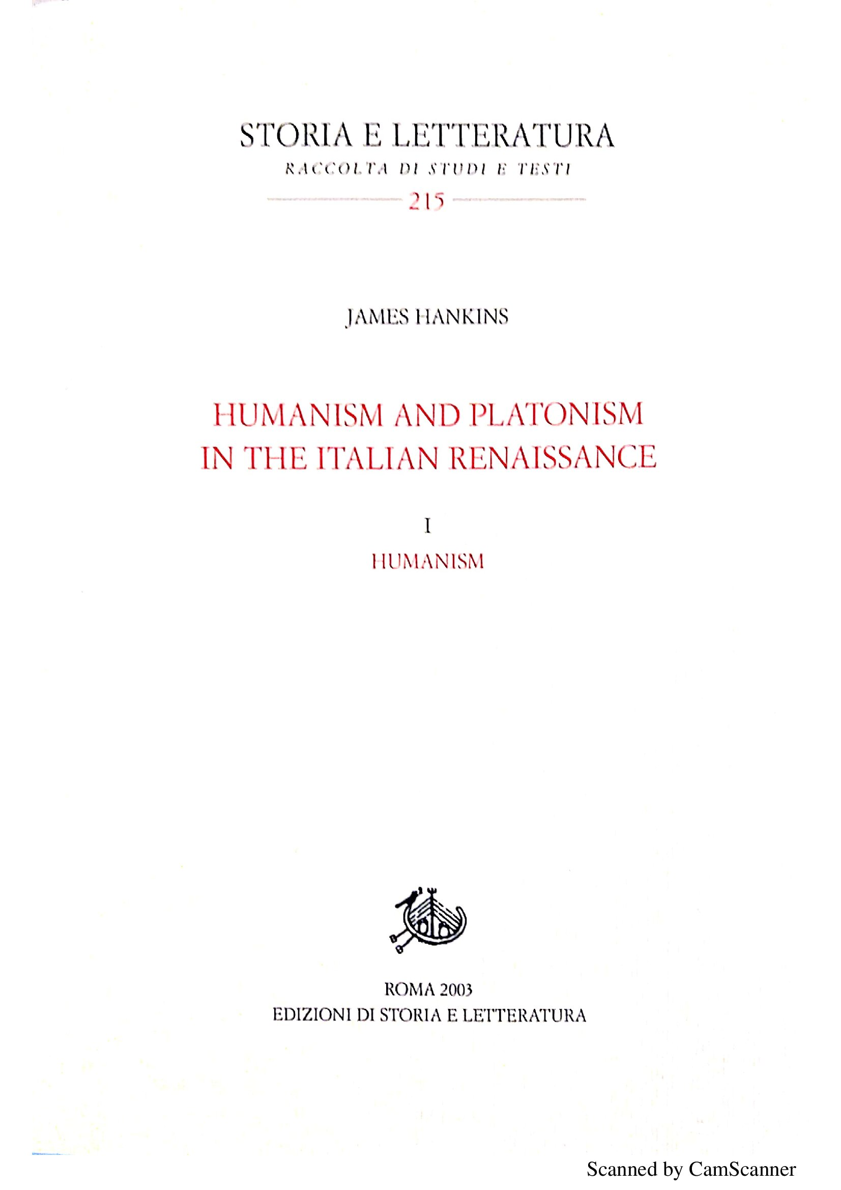 Humanism and Platonism in the Italian Renaissance / Humanism