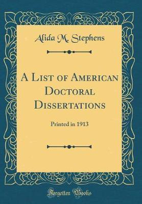 A List of American Doctoral Dissertations