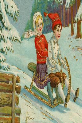 Vintage Kids Sledding Snowy Hill Evergreens Journal