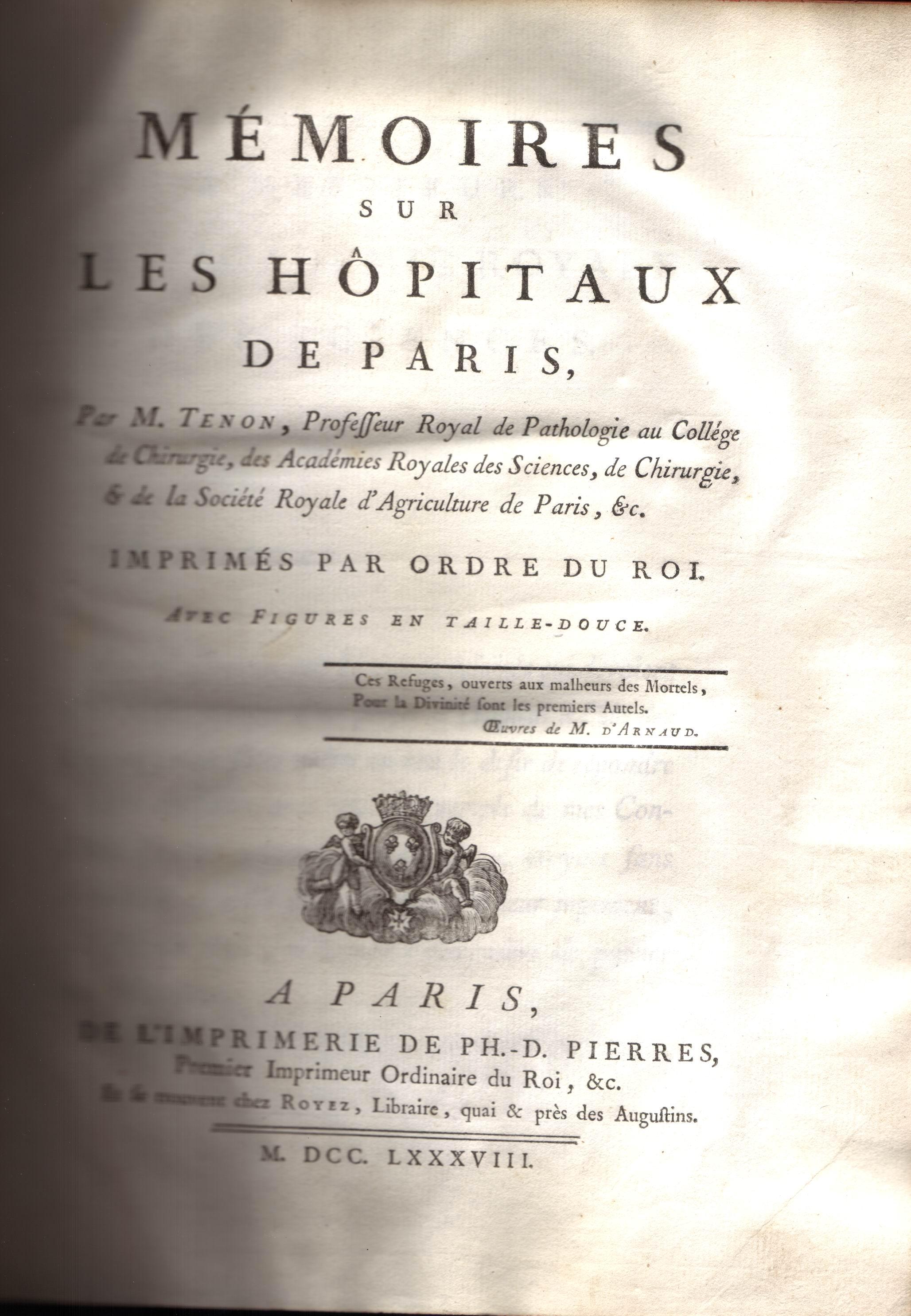 Mémoires sur les hopitaux de Paris