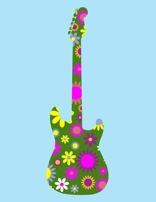 Music Notebook - Blue Retro Flower Guitar