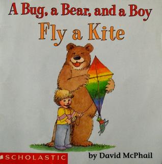 A bug, a bear, and a boy fly a kite