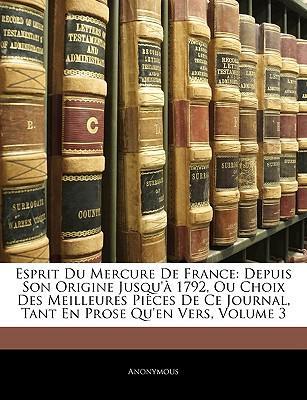 Esprit Du Mercure De France