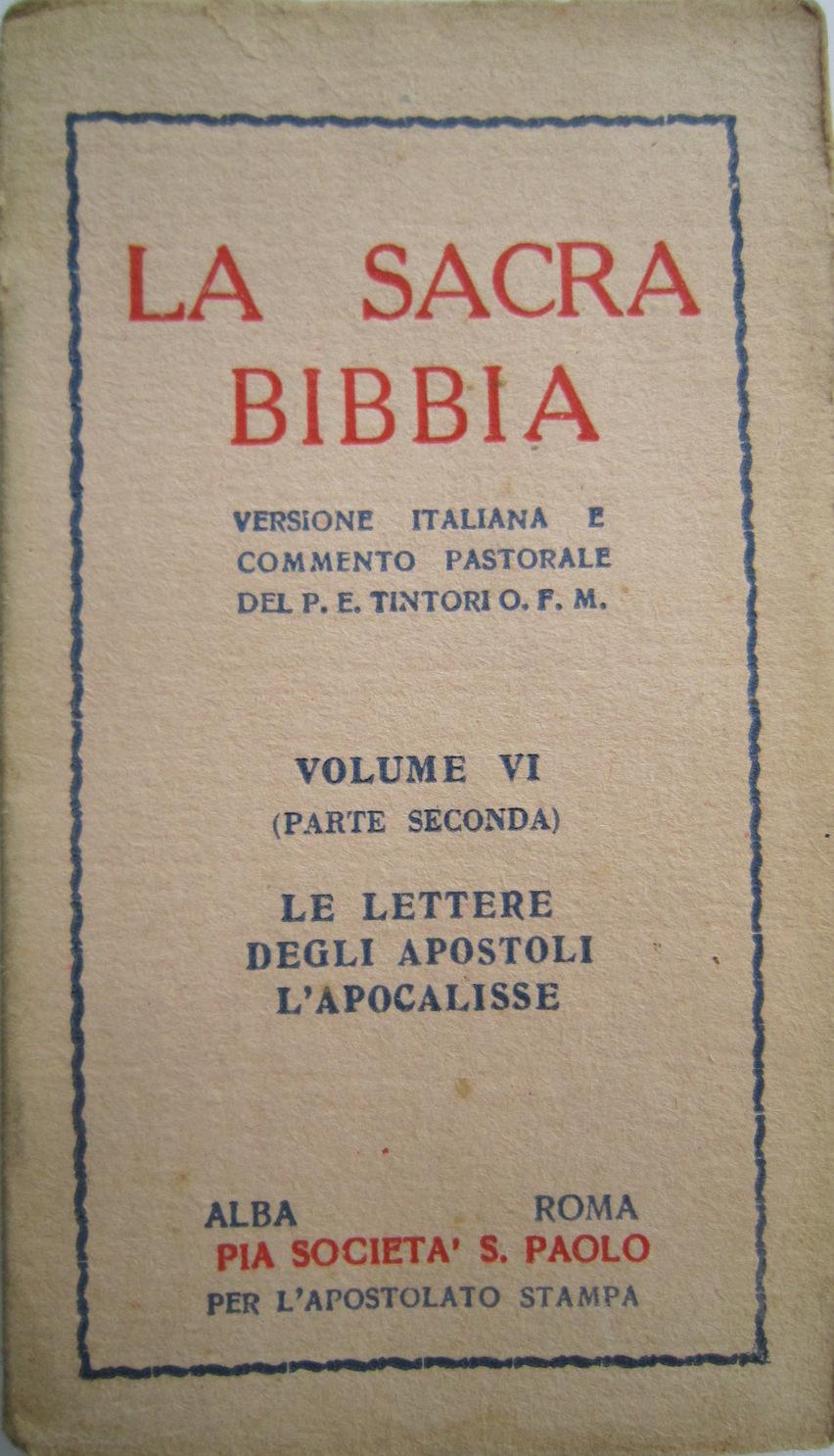 La Sacra Bibbia: versione italiana della Volgata e commento pastorale
