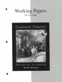 Managerial Accounting: Working Papers for 9r.e