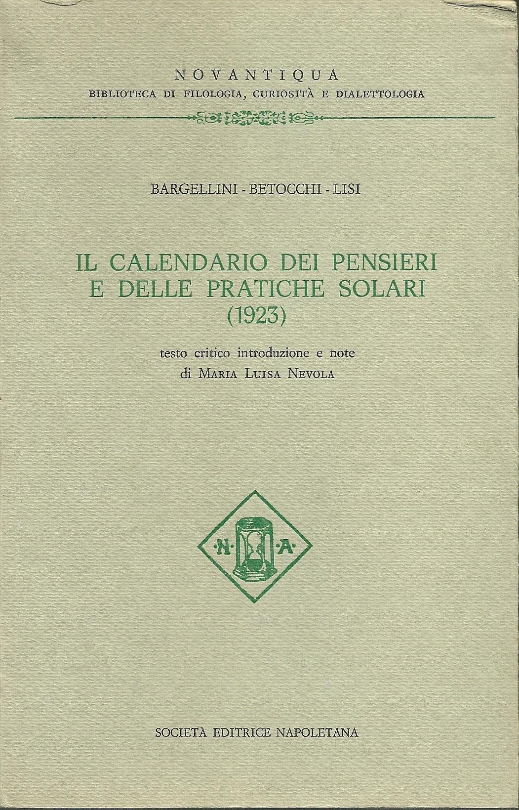 Calendario dei pensieri e delle pratiche solari, 1923