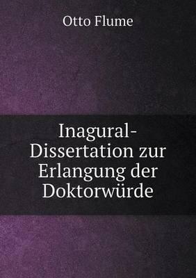 Inagural-Dissertation Zur Erlangung Der Doktorwurde