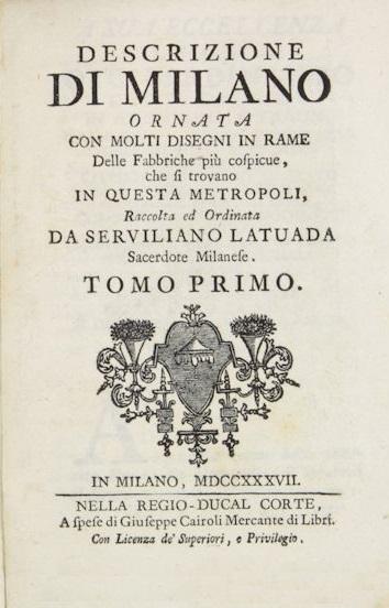 Descrizione di Milano - tomo primo
