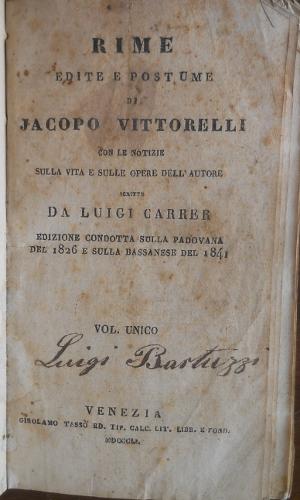 Rime edite e postume di Jacopo Vittorelli