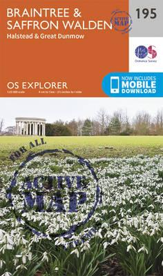 OS Explorer Map Active (195) Braintree and Saffron Walden