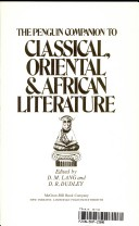 The Penguin companion to classical, Oriental and African literature