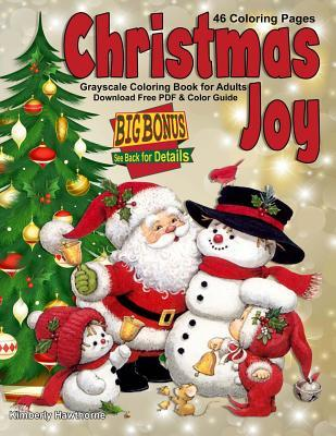 Christmas Joy Grayscale Coloring Book for Adults
